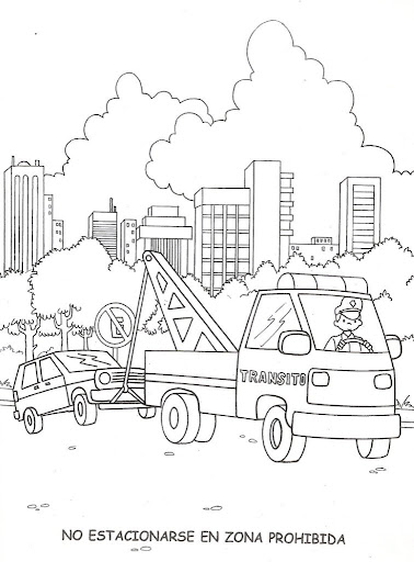Do not park in prohibited areas, coloring pages