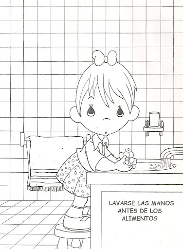 Child washing hands, free coloring pages