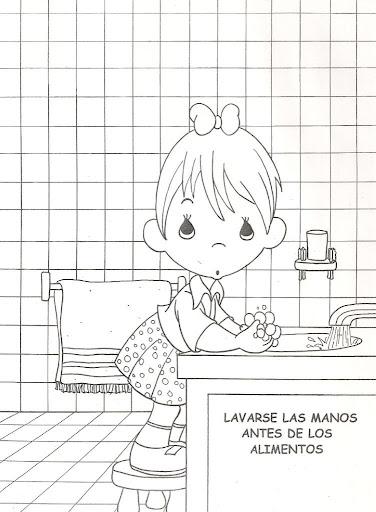 Niño lavandose las manos – dibujo para colorear de los deberes de los niños