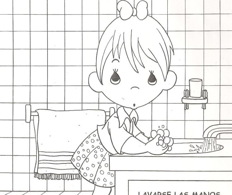 Child washing hands free coloring pages Coloring Pages