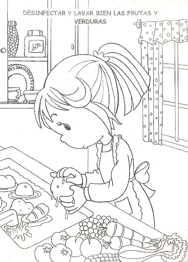 Girl washing the fruits, free coloring pages