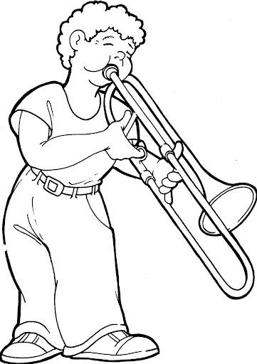 Trompetista para colorear
