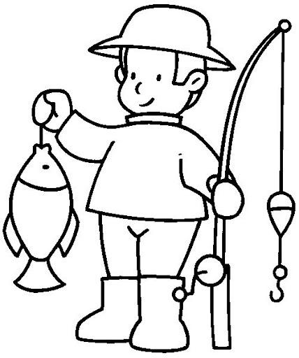 Pescador para colorear