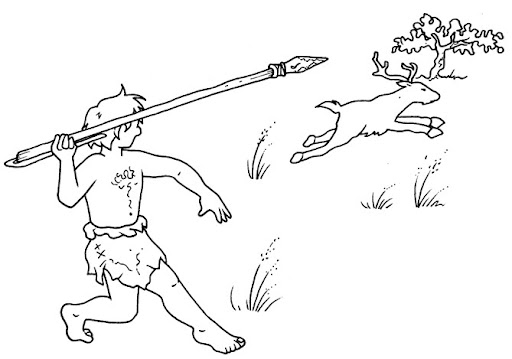 hominid hunting - free coloring pages