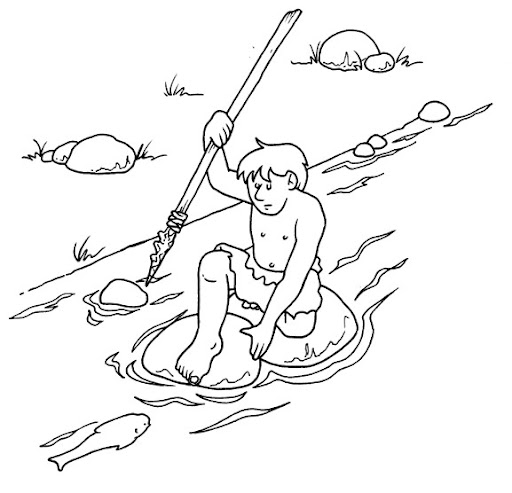 Prehistoric man fishing - free coloring pages