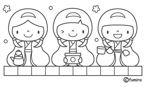 Niñas japonesas comiendo para colorear