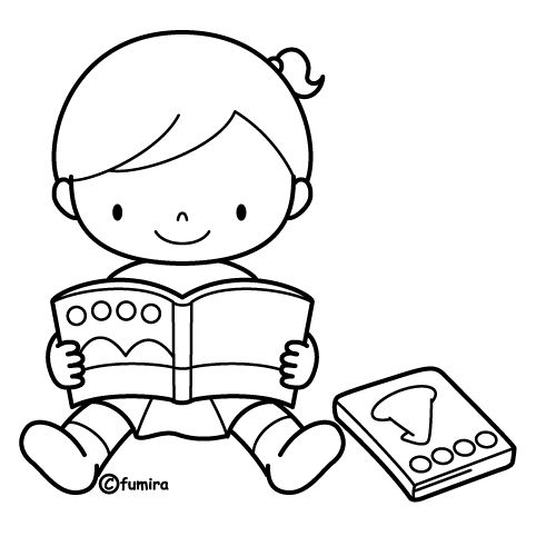 Children Reading Books Coloring Pages