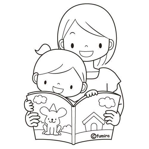 Pinto dibujos mam leyendo a su hija para colorear - Toddler libro da colorare ...