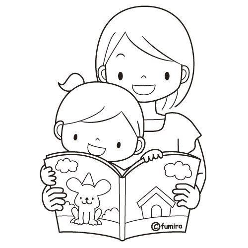 coloring pages  mom reading to her child  free coloring pages