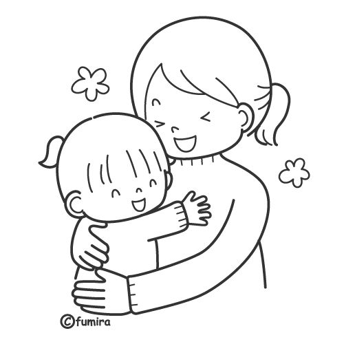 Mom huging daugther free coloring pages | Coloring Pages