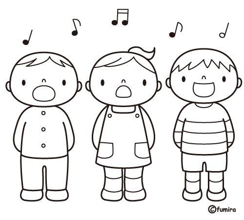 Pinto Dibujos: Niños cantando para colorear
