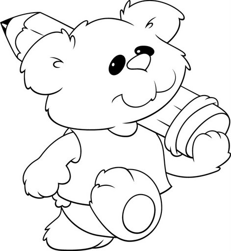 Bear with Pencil Coloring Pages