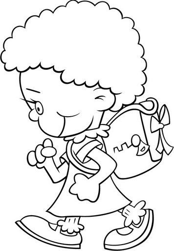 Pinto Dibujos: Niños con mochila para colorear
