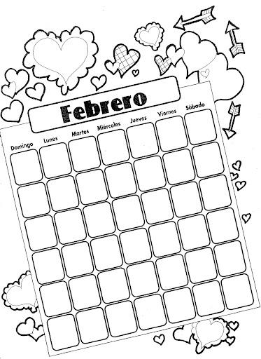 Calendario de febrero para colorear