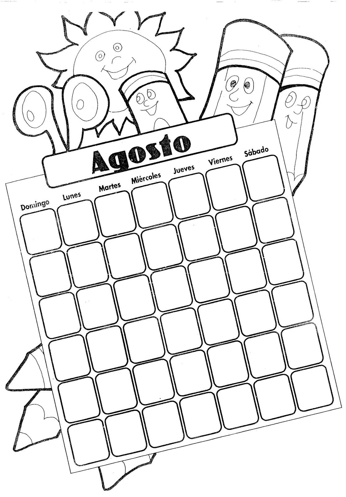 Calendario del mes de agosto para colorear