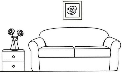 Sala de una casa para colorear - Imagui