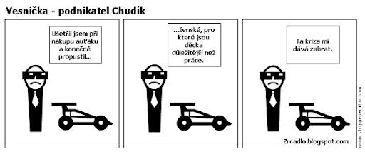 Komiks Vesnička - podnikatel Chudík a světová hospodářská krize
