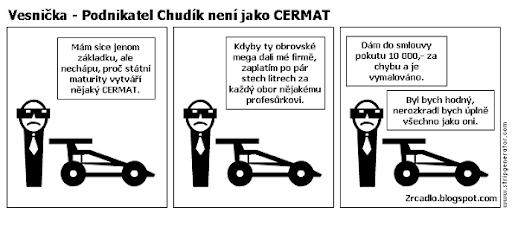Komiks Vesnička - Podnikatel Chudík není jako Cermat.