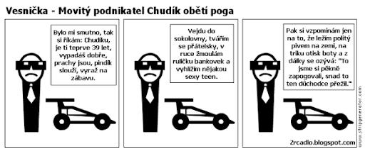 Komiks Vesnička - Movitý podnikatel Chudík obětí poga.
