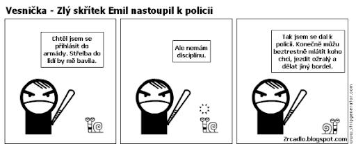 Komiks Vesnička - Zlý skřítek Emil nastoupil k policii.