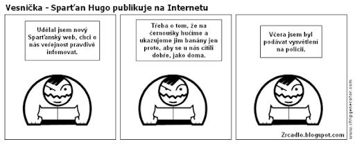 Komiks Vesnička - Sparťan Hugo publikuje na Internetu.