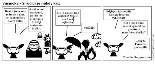 Komiks Vesnička - S rodiči je někdy kříž.