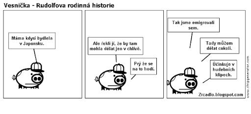 Komiks Vesnička - Rudolfova rodinná historie.