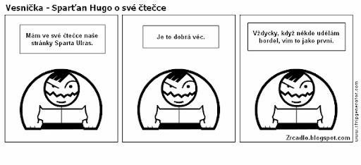 Komiks Vesnička - Sparťan Hugo a jeho čtečka.