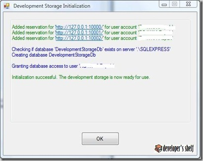 Azure Development Storage Initialization