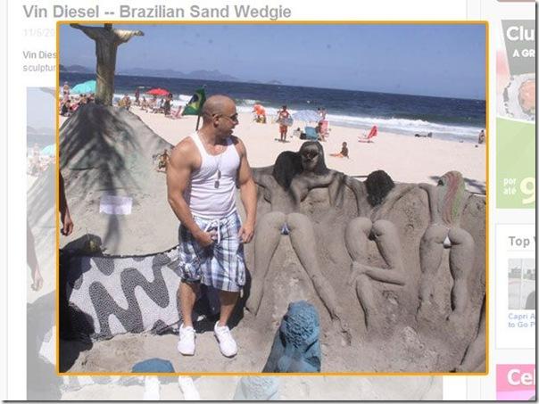 Vin Diesel todo ficou animado ao ver esculturas feminias no Rio