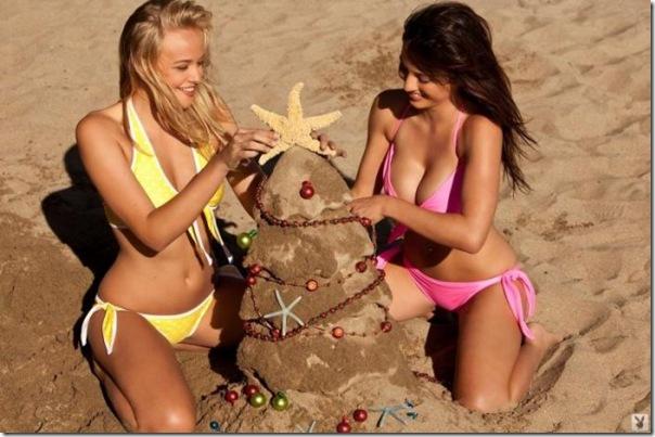 Belissima arvore de natal de areia