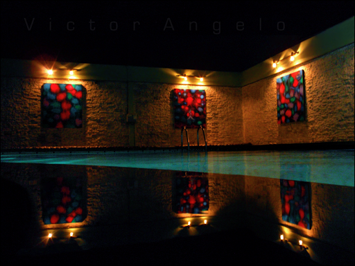 Victor Angelo paintings for the pool corporate art collection