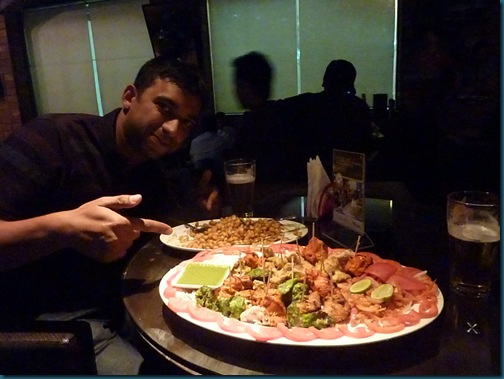 Crispy corn and chicken platter at Extreme Sports with Arfan