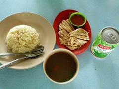 Chicken rice and sweet jasmine green tea!!