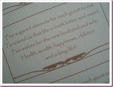 Sugared Almond Poem - wedding favor