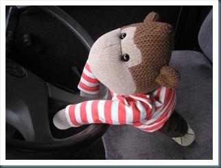 Mrs C's monkey takes to the wheel