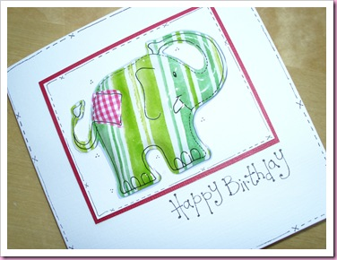 Green Patchwork elephant card
