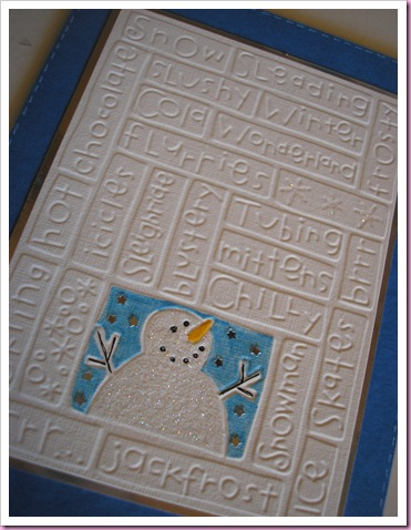 I love the snowman on this Christmas Card . To make it I have used a