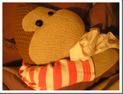 Monkey in bed with flu
