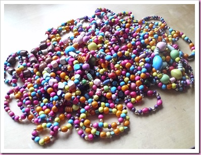 Pile of wooden bead bracelets