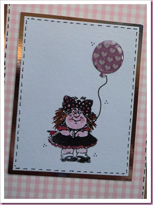 Girl with a balloon stamped card 1