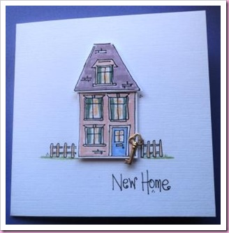 New Home Card with brass key