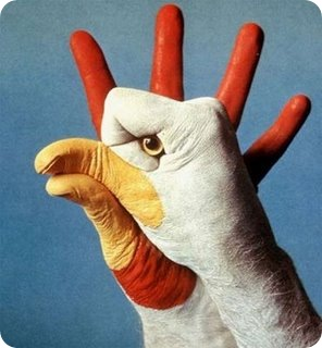 White chicken art in two  Hand