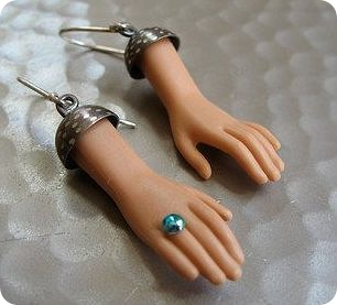Barbies hands made into earrings