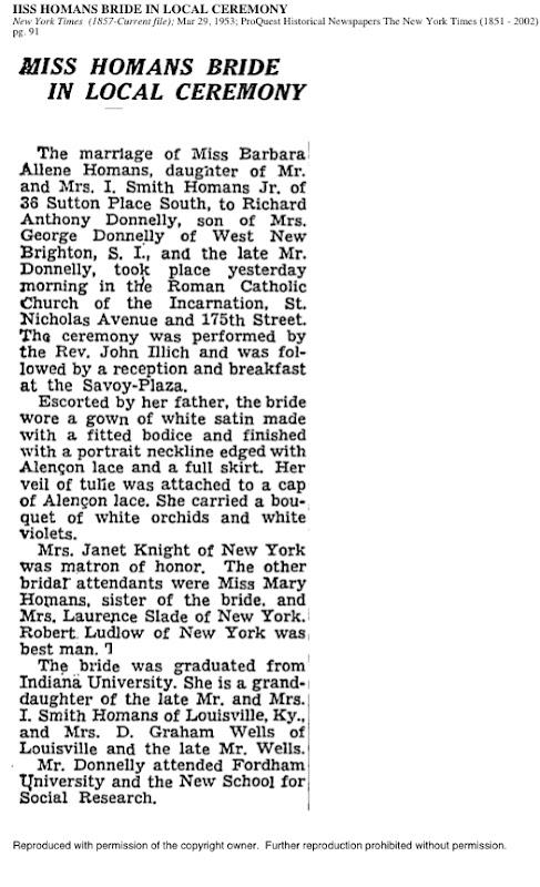 Illich NYT 1953Wedding