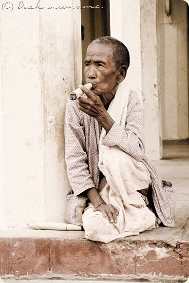 Burmese woman with cigar
