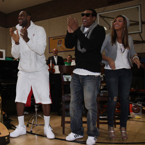 LBJ Wearing ZLVI Low at Sprite Green Instrument Donation