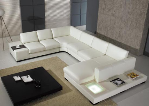 Modern and Contemporary White Leather Sofa Design