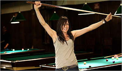 Famke with Pool Cue in Turn The River