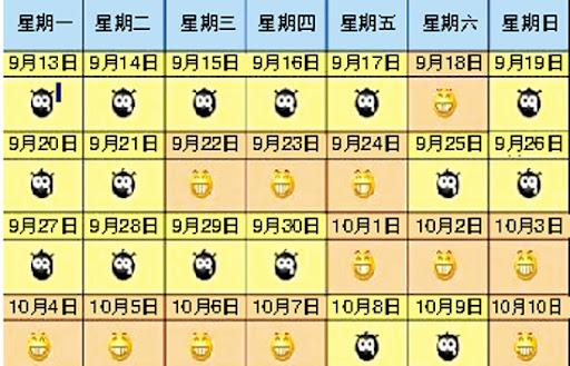 中秋国庆假期分布示意图